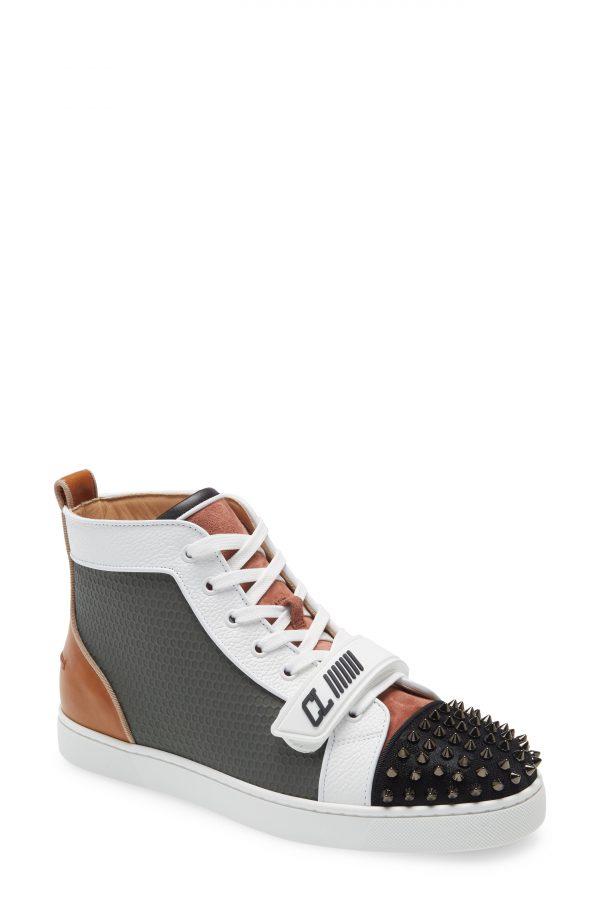 Men's Christian Louboutin Louis Orlato Spikes High Top Sneaker, Size 12US - Black