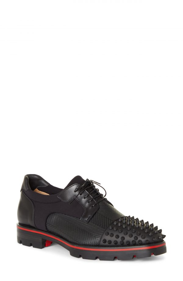Men's Christian Louboutin Luis Spikes Cap Toe Derby, Size 6US - Black
