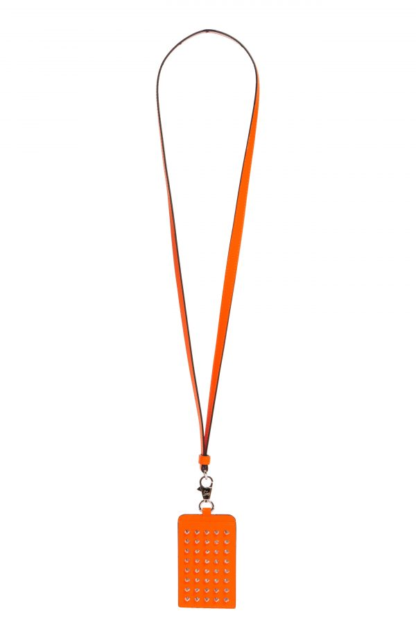 Men's Christian Louboutin Miloucah Spike Leather Lanyard Card Case - Orange