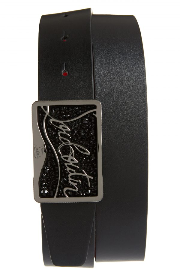 Men's Christian Louboutin Ricky Logo Crystal Buckle Leather Belt, Size 95 EU - Black/black/gun Metal