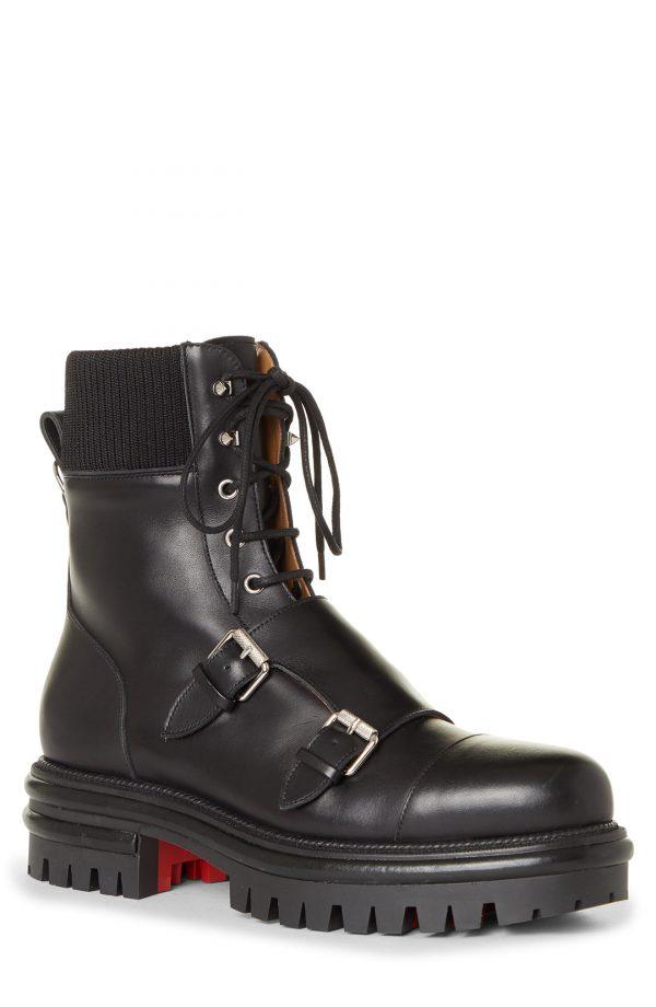 Men's Christian Louboutin Yetito Combat Boot, Size 7US - Black