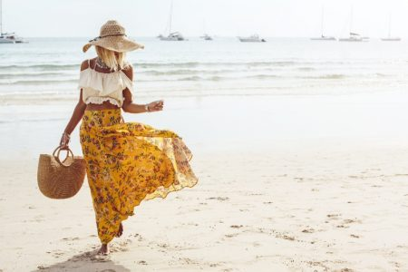 Model Beach Crop Top Printed Skirt Straw Bag Hat Outfit