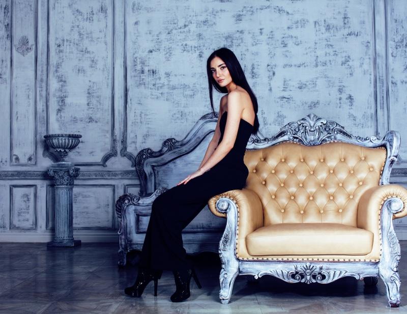 Model Black Dress Luxury Couch Interior Design