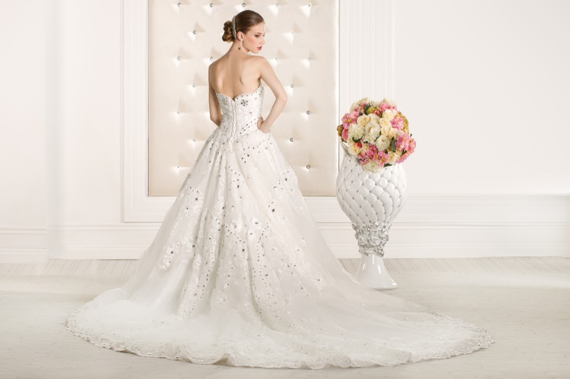 Model Embellished Ballgown Wedding Dress Back