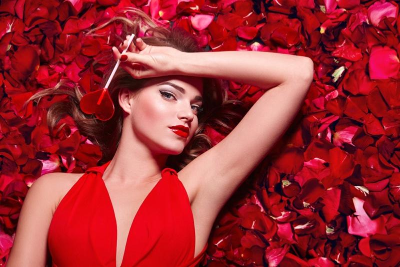 Model Flower Petals Heart Shaped Lollipop Red Dress