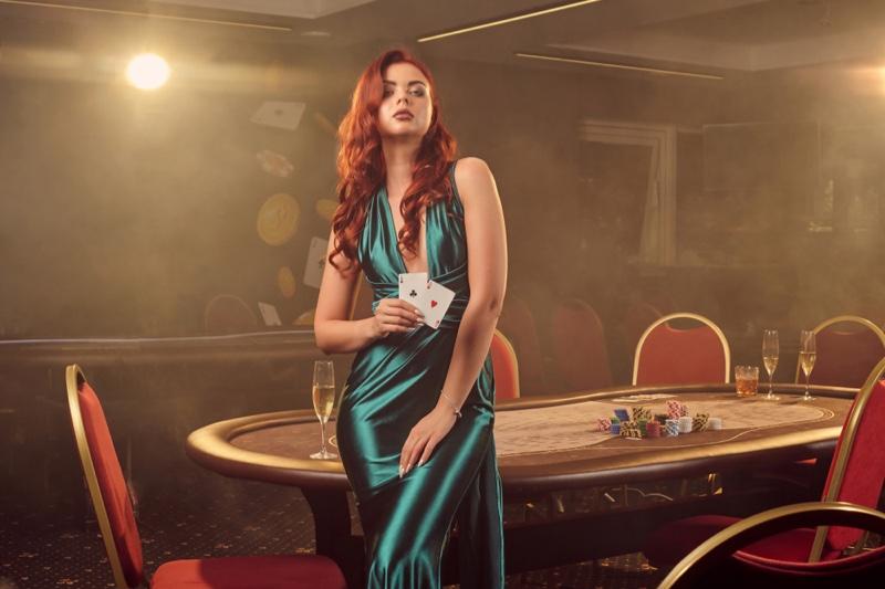 Model Green Dress Casino Table Cards