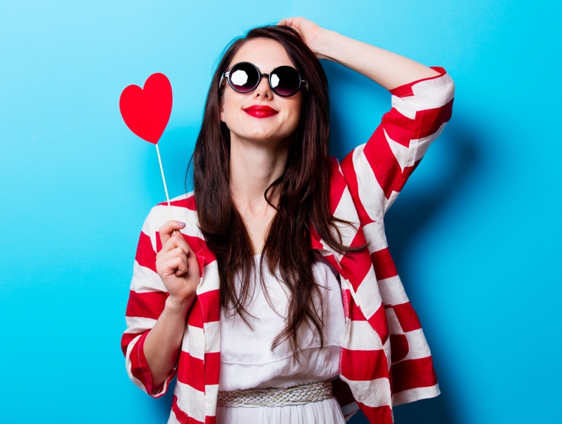 Model Heart Red White Striped Jacket Style
