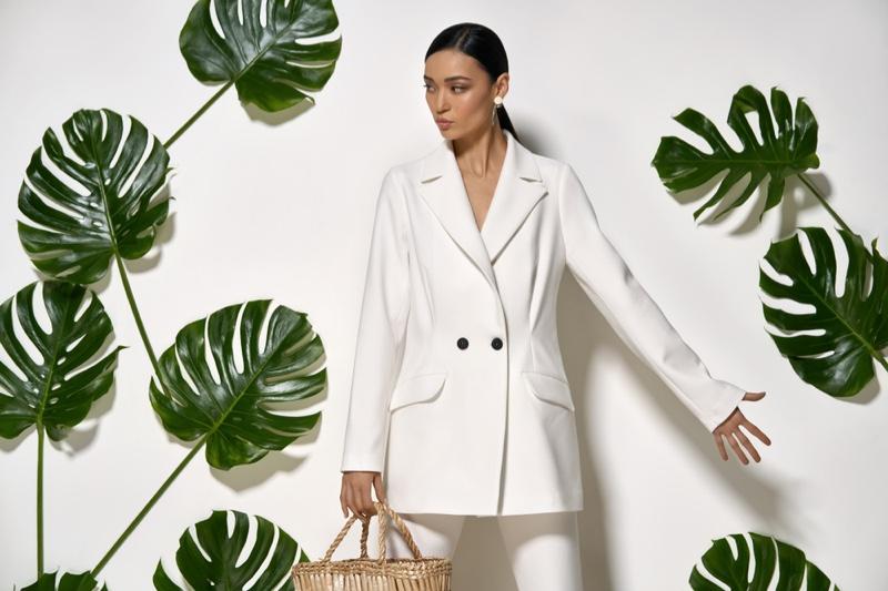 Model White Suit Fashion