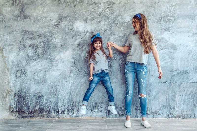 Mom Daughter Matching Outfits Kids T-Shirt Denim