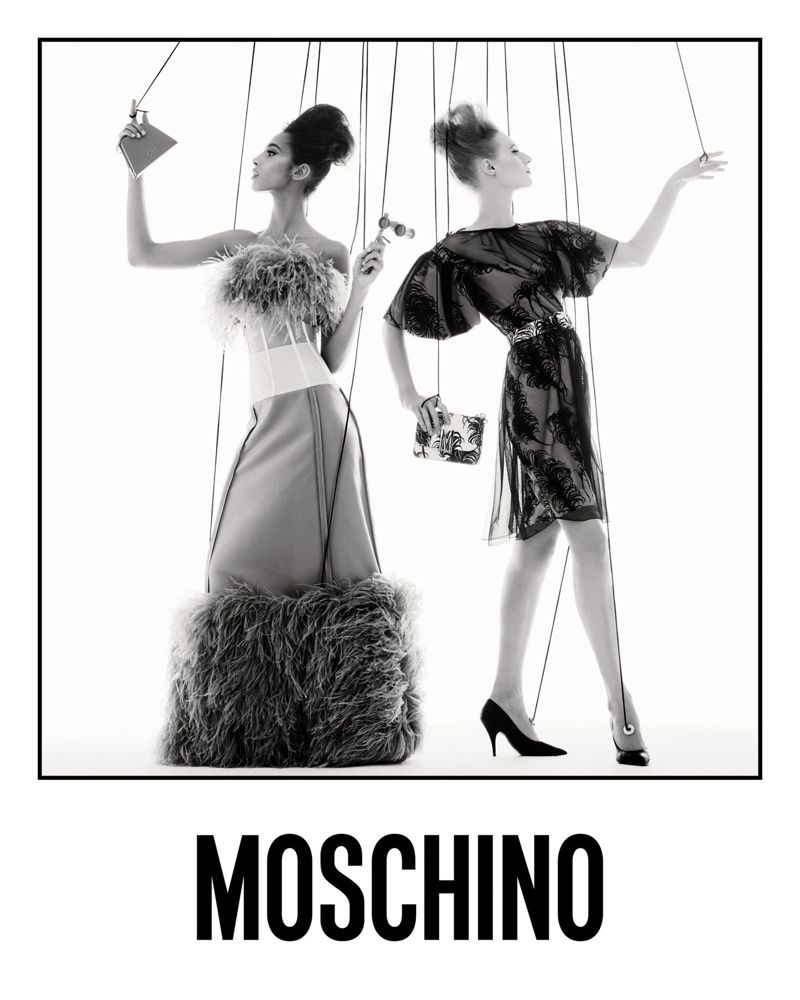 Moschino unveils spring-summer 2021 campaign featuring models as marionettes.