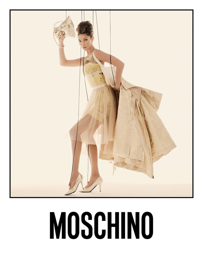 Bella Hadid stars in Moschino spring-summer 2021 campaign.
