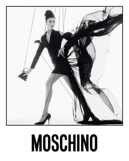 Irina Shayk appears in Moschino spring-summer 2021 campaign.