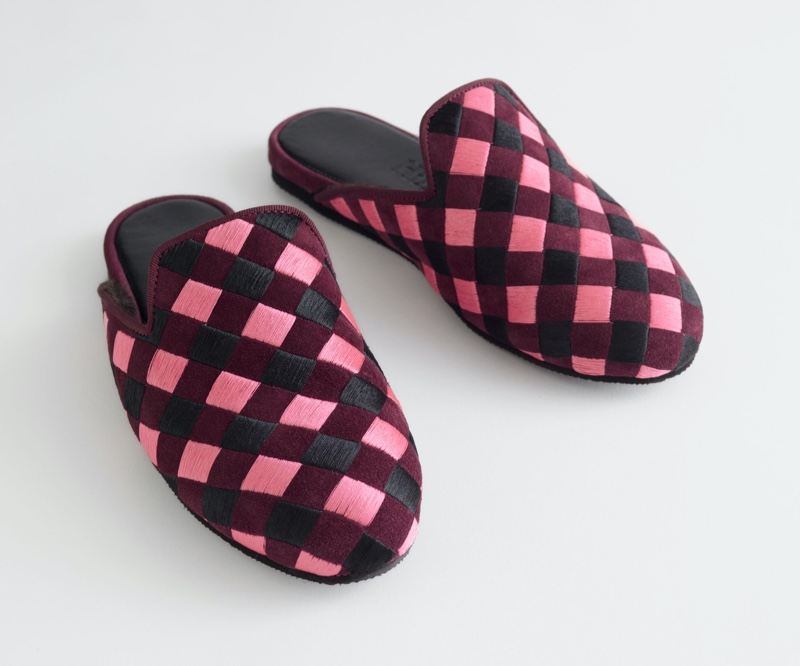 & Other Stories x Hums Pink Check Open Slippers $89