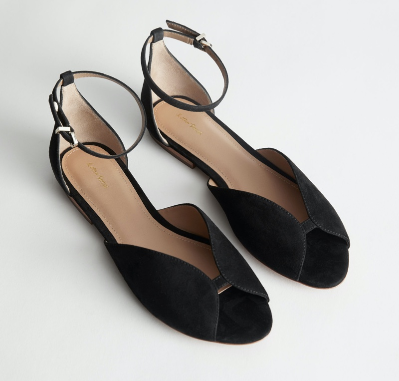& Other Stories Suede Ankle Strap Ballerina Flats $99
