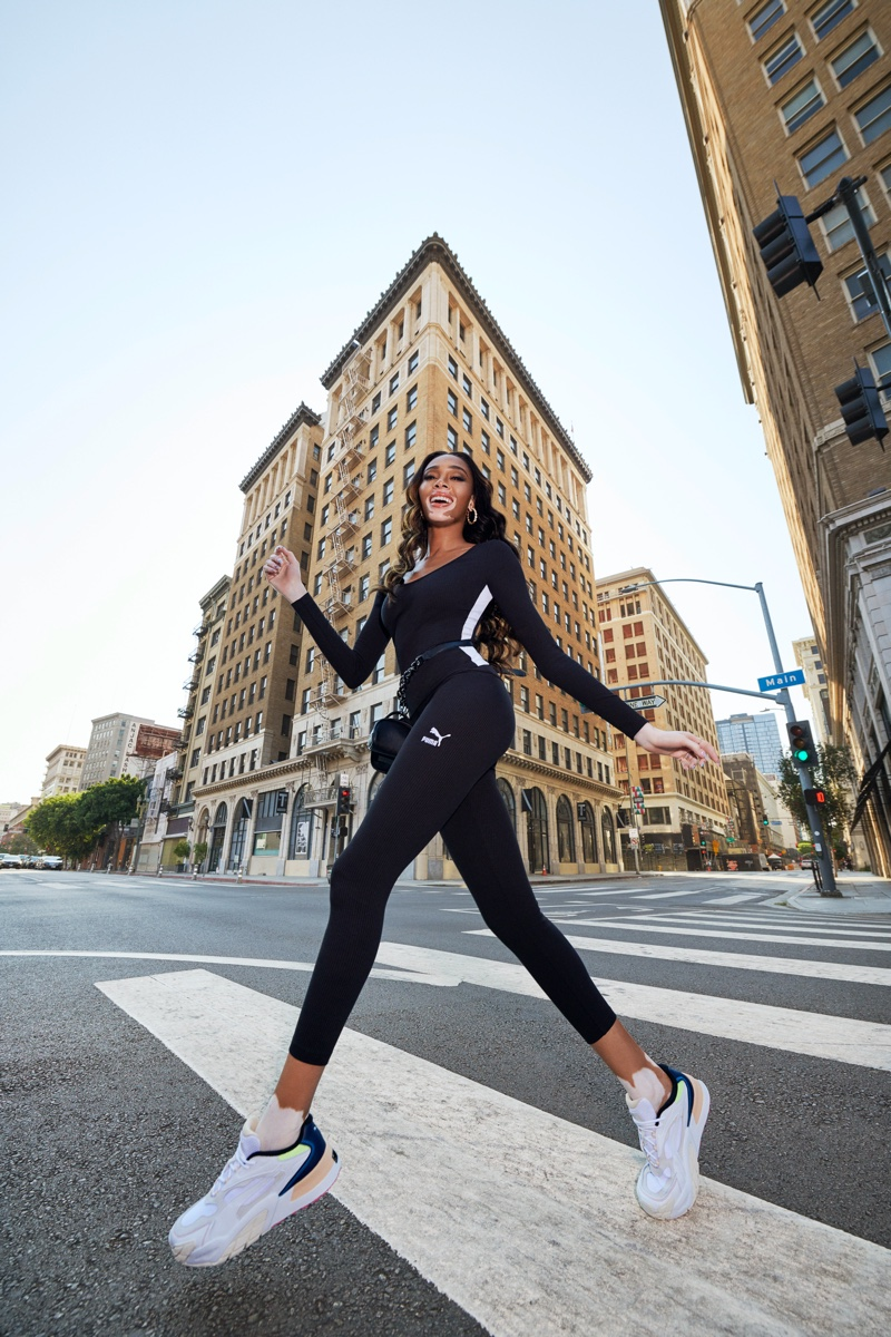 Model Winnie Harlow takes a leap in PUMA Fashion Rebels campaign.