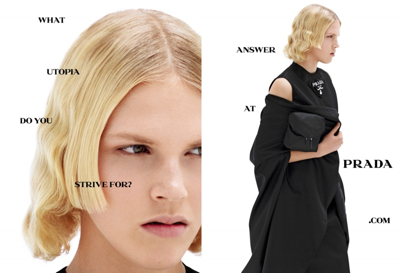Lydia Kloos appears in Prada spring-summer 2021 campaign.