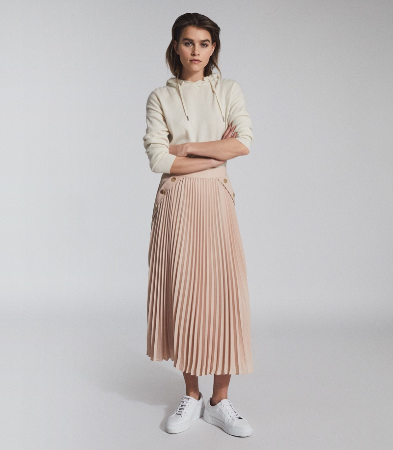 REISS Lina Pleated Mini Skirt in Nude $320