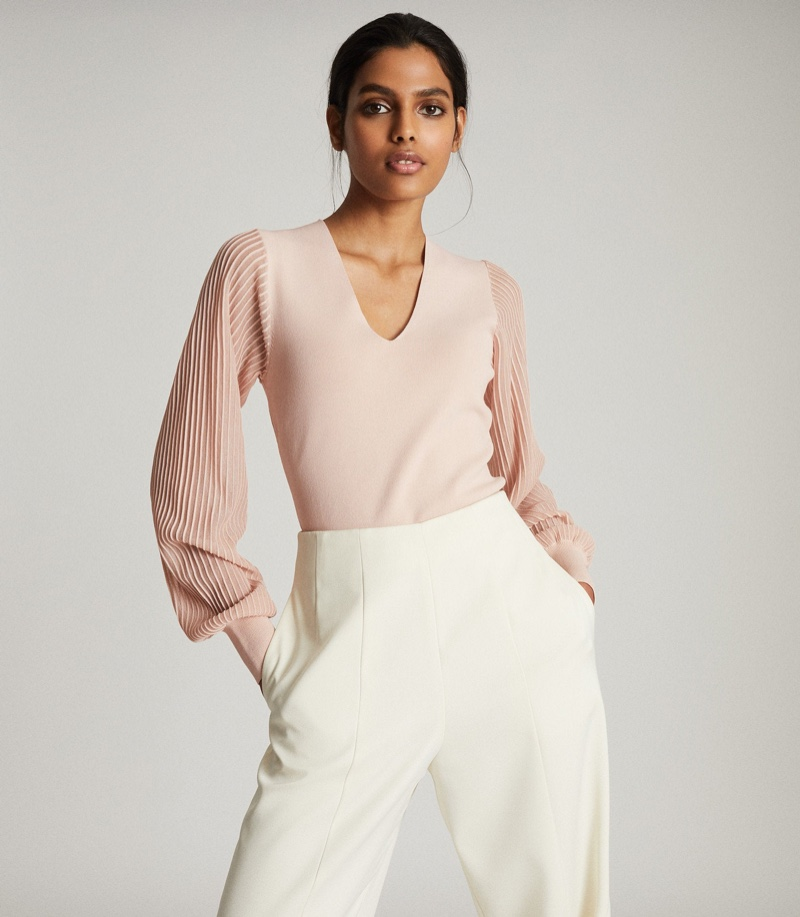 REISS Savannah V-Neck Knitted Top in Blush $240
