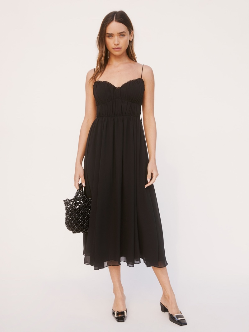 Reformation Pique Dress in Black $248