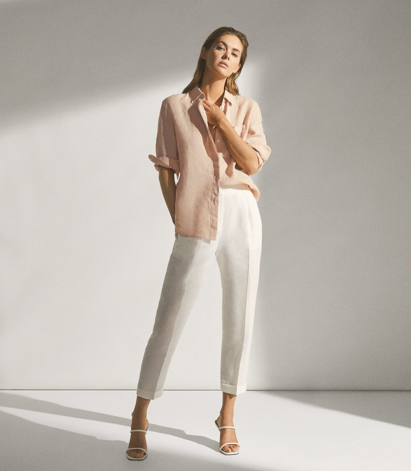 Reiss Campbell Linen Relaxed Fit Shirt in Pink $180