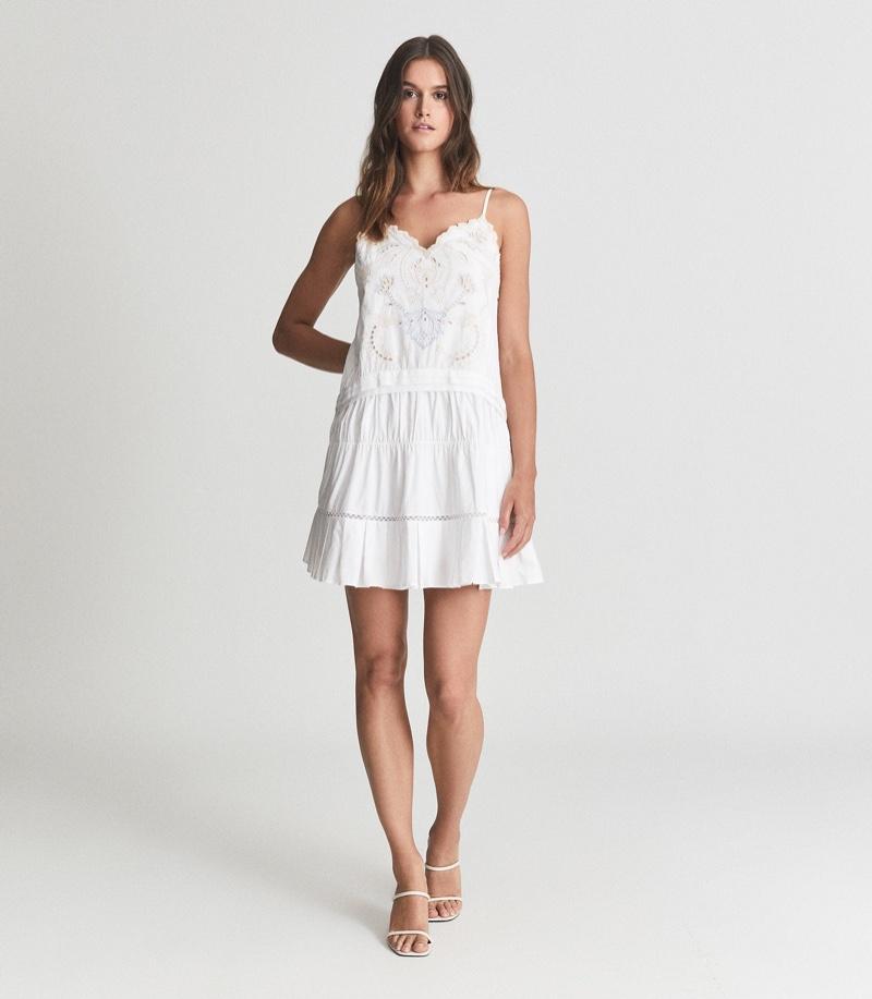 Reiss Debora Embroidered Mini Dress $295
