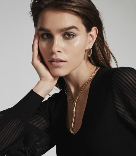 Reiss Ellena Brushed Gold Plated Chain Necklace $145