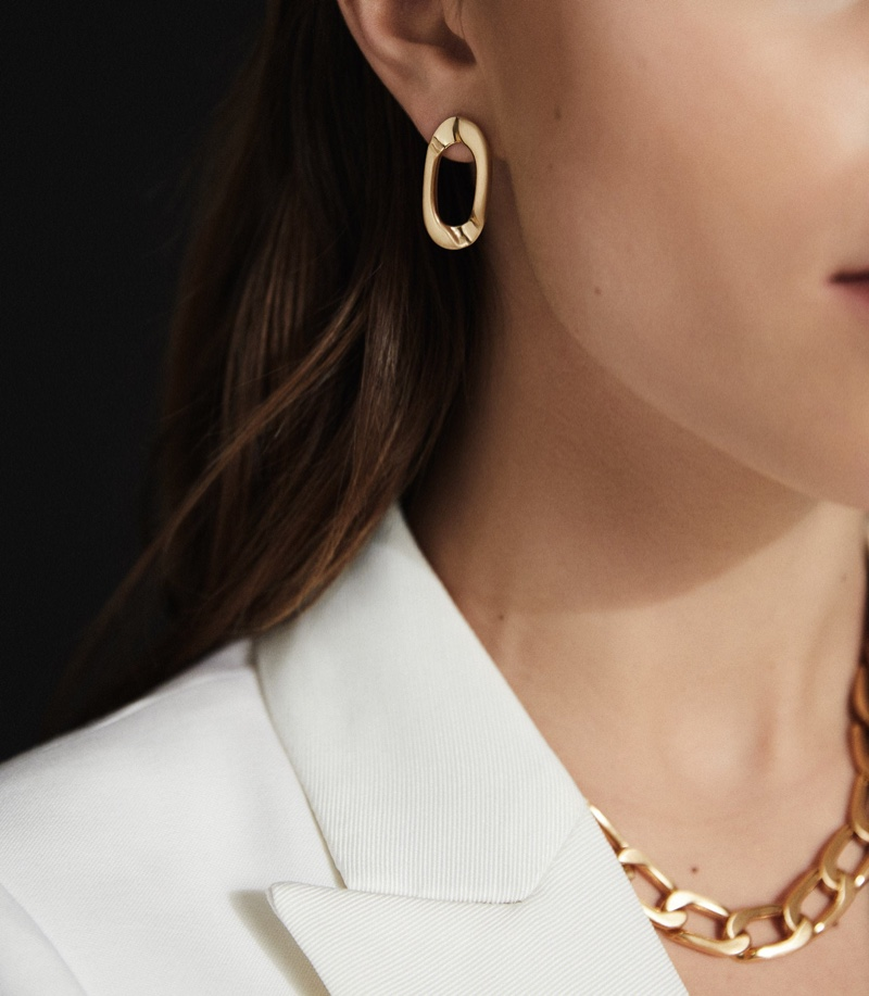 Reiss Lexi Brushed Gold Plated Earrings $60