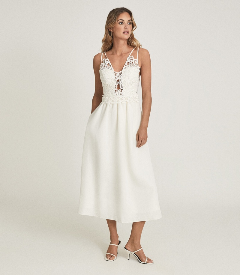 Reiss Serena Lace Detailed Midi Dress in White $470
