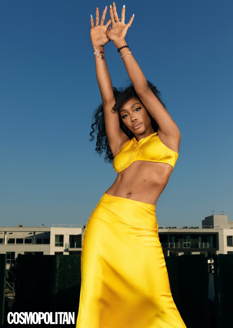 SZA shows off Collina Strada top and skirt.