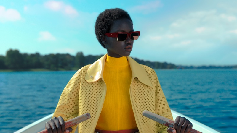 Anok Yai shines in vibrant style for Salvatore Ferragamo spring-summer 2021 campaign.