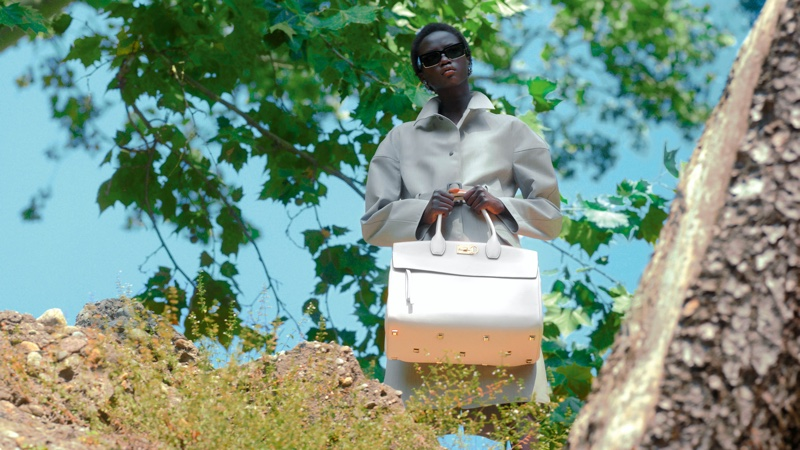 Salvatore Ferragamo Trifolio bag featured in spring 2021 campaign.