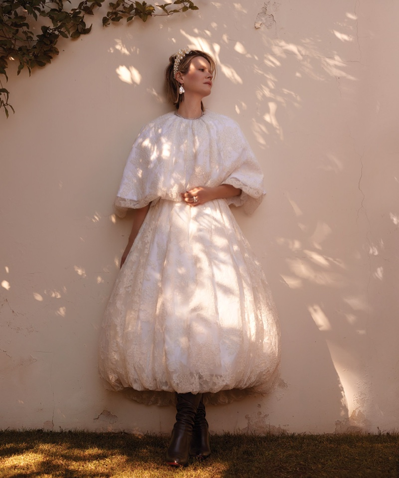 Sarah Paulson poses in Simone Rocha dress and headband. Photo: Max Abadian