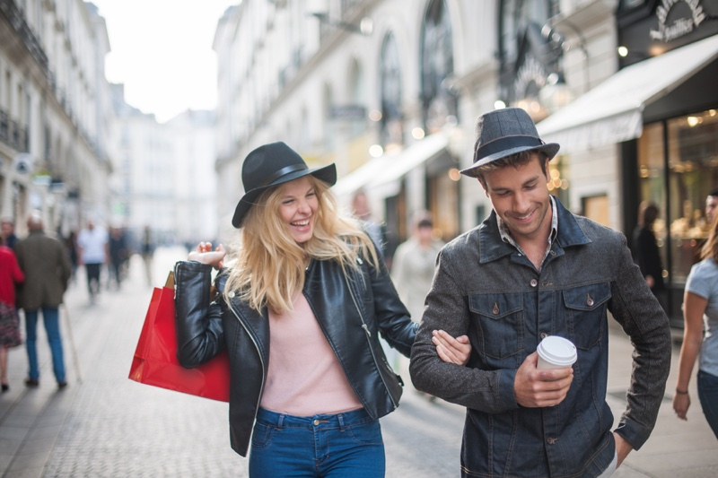 Smiling Couple Walking Autumn Jackets Streets
