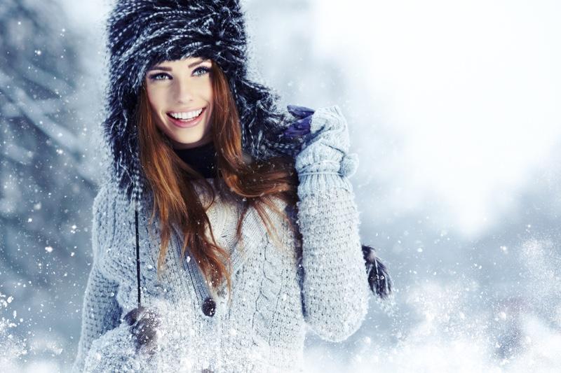 Smiling Model Winter Snow Hat Grey Sweater