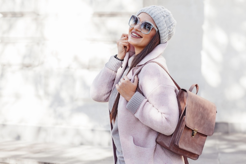 Smiling Woman Winter Outfit Beanie Backpack