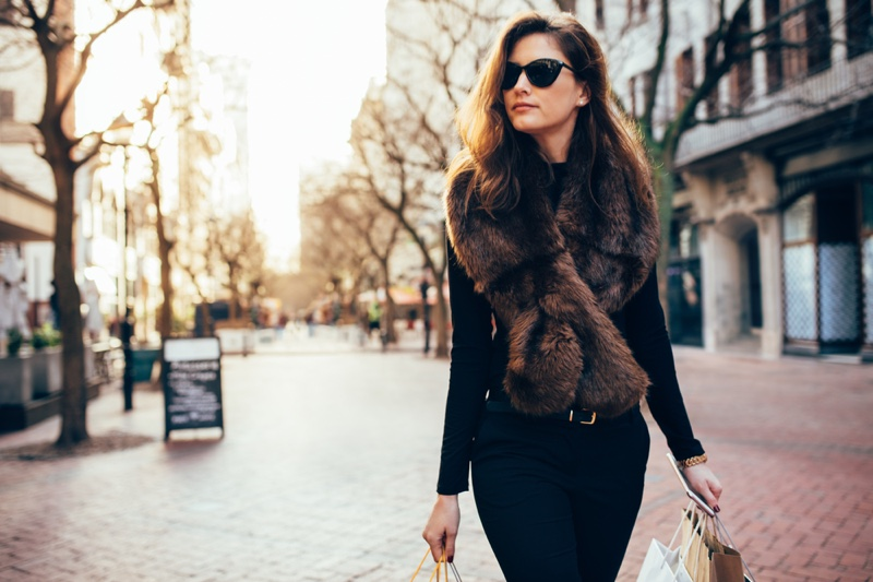 Stylish Woman Fur Vest Street