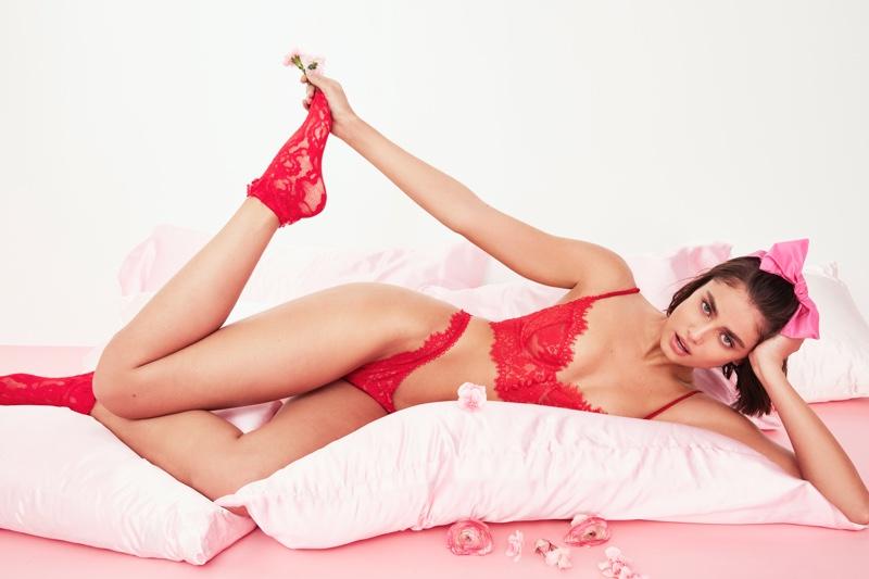 For Love & Lemons x Victoria's Secret Faye Lace Underwire Bra & Thong.