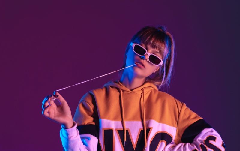 Teen Girl Hoodie Rectangle Sunglasses Gum