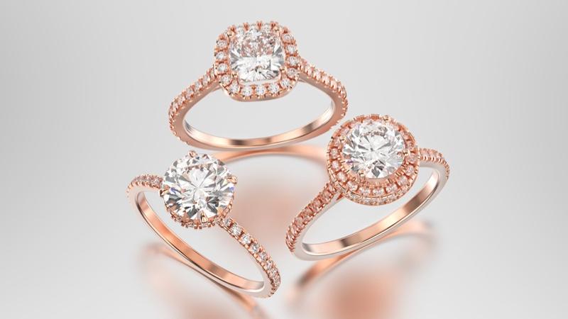 Three Rose Gold Rings Diamonds