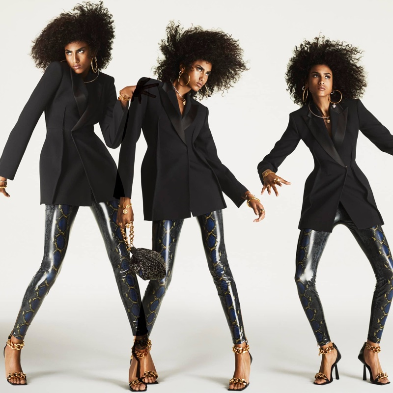 Imaan Hammam poses for Versace Flash 2021 campaign.