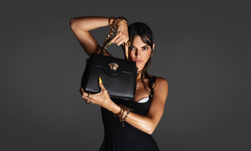 Kendall Jenner poses for Versace spring-summer 2021 campaign.