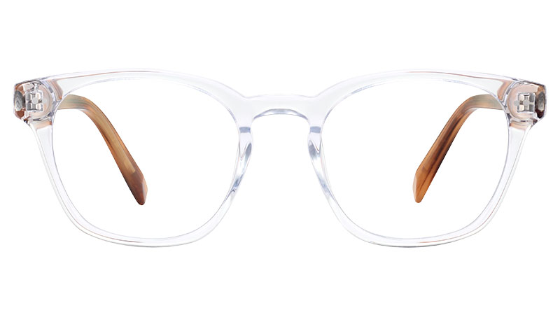 Warby Parker Felix Glasses in Crystal with English Oak Temples $95