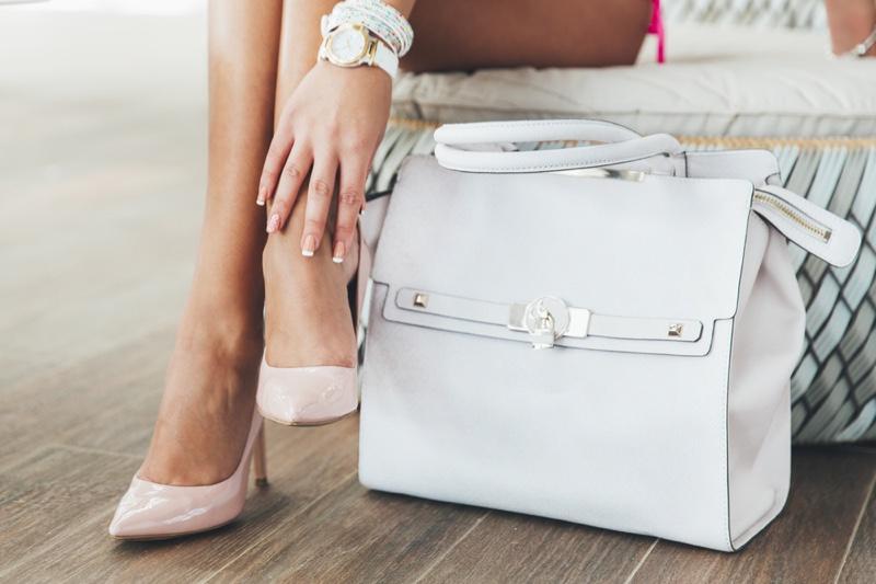 Woman Pink Heels Large White Bag