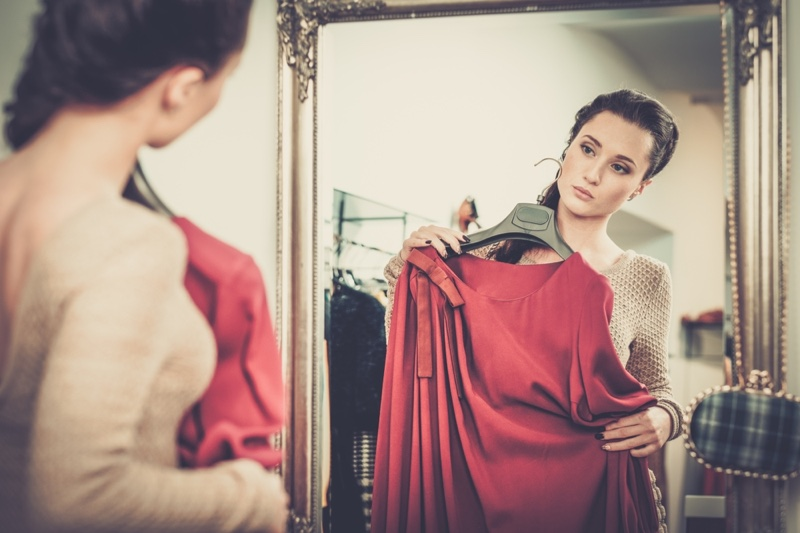 Woman Posing Red Dress Hanger Mirror Trying Clothes