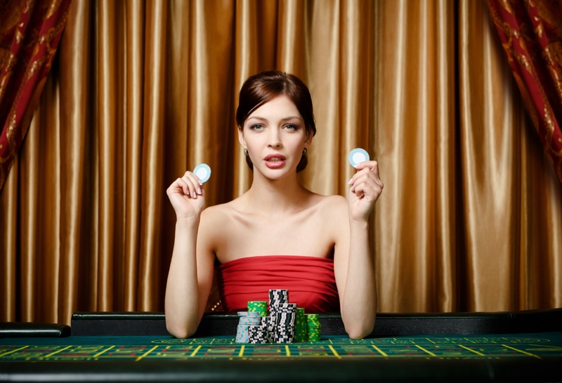 Woman Roulette Table Red Dress Chips