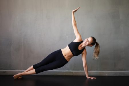 Woman Yoga Pose Plank Black Outfit Smile