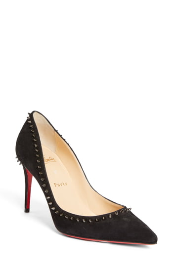 Women's Christian Louboutin Anjalina Studded Pointed Toe Pump, Size 4US - Black