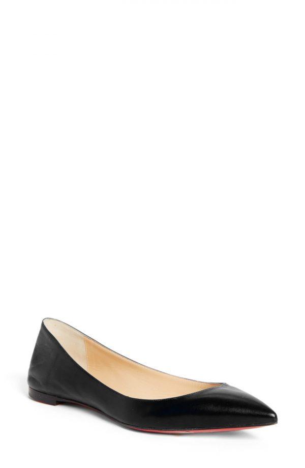 Women's Christian Louboutin Ballalla Pointed Toe Flat, Size 5US - Black