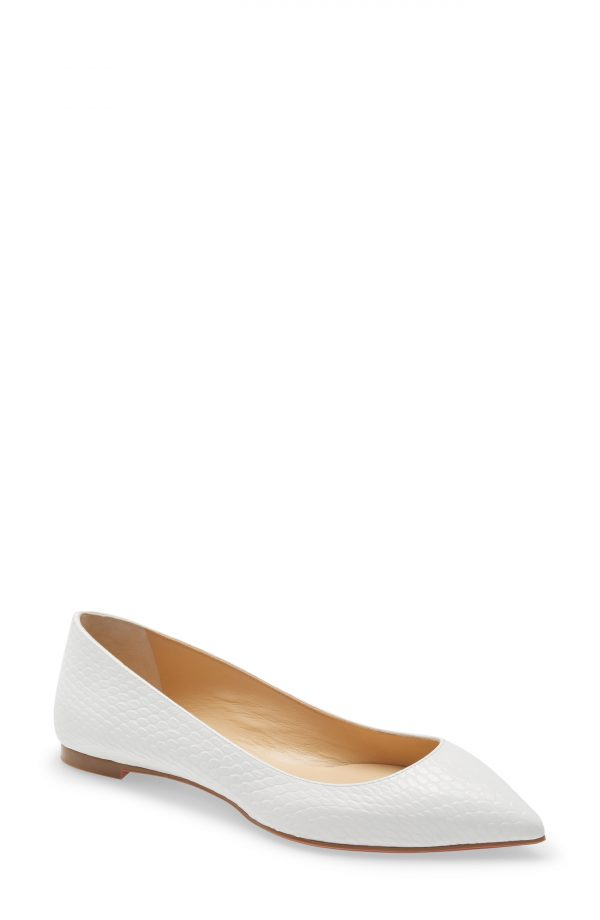 Women's Christian Louboutin Ballalla Pointed Toe Flat, Size 9US - White
