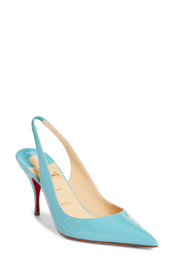 Women's Christian Louboutin Clare Pointed Toe Slingback Pump, Size 5.5US - Blue